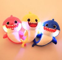 Wholesale soft stuffed animals for babies online - baby Shark Plush Doll Creative Singing Soft Baby Toys Gift For Kids Song Music Led light Cartoon Stuffed Animal Soft Dolls KKA6589