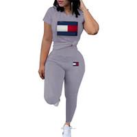 брючная майка для лета оптовых-летние женщины дизайнер спортивный костюм письмо ТМ из двух частей набор с коротким рукавом футболка + брюки леггинсы бренд спортивный костюм повседневная толстовка suitC61002
