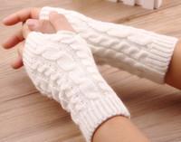 calentador de brazos guantes largos sin dedos al por mayor-Nuevo invierno Unisex mujer sin dedos de punto guantes largos chica brazo calentador Twist lana medio dedo mitones