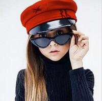 ingrosso ragazze ragazze bicchieri-bambini occhiali da sole New fashion ragazzi e ragazze bambini carino triangolo occhi di gatto occhiali da sole UV400 occhiali ombra bambino Oculos UV400