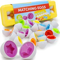 Wholesale puzzle games material resale online - 12pcs Montessori Educational early Learning toys D Puzzle match shape color game Baby Smart plastic material Eggs Toys for Kids Y200428