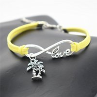 Wholesale vintage brass lobster for sale - Group buy Vintage Silver Infinity Love Double Coconut Palm Tree Plant Pendant Charm fit Bracelets Women Men Yellow Leather Suede Rope DIY Cuff Jewelry