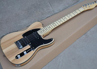 Wholesale natural wood color electric guitar resale online - Factory Natural Wood Color Electric Guitar with ASH Body HH Pickups Black Pickguard Maple Fretboard Black Binding be customize