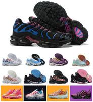 mulher, correndo, sapatos venda por atacado-Nova Chegada 2019 Sapatas Das Mulheres Arco-Íris Colorido Branco preto vermelho tn ultra Chaussures plus Sneakers Respirável requin Femme Running Shoes 36-40