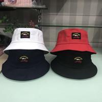 chapéus beanie unisex venda por atacado-Novo 4 cores paul tubarão balde bordado chapéus ao ar livre caps homens mulheres unisex gorros chapéus de sol de algodão chapéus de aba mesquinha