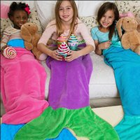 Wholesale cashmere sleeping bags resale online - Mermaid Tail Sleeping Bags Fish Blanket cm Sofa Bedroom Fish Tail Towel Blanket Camping Travel Mermaid Shaped Blankets GGA1782