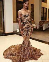 siyah kız zarif balo elbiseleri toptan satış-Sparkly Siyah Ve Altın Abiye Mermaid Gelinlik Siyah Kızlar Için Artı Boyutu Aplikler Sevgiliye zarif Kaftan Afrika Balo Abiye