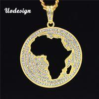 африканский хип-хоп ожерелья оптовых-Uodesign новая мода круглый Кристалл полые Африка кулон хип-хоп ожерелье ювелирные изделия 30 дюймов кубинская цепь HP126