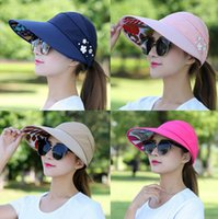 Wholesale visor online - Women Foldable UV Protection Hat Riding Floppy Cap Women Outdoor Beach Hat Wide Large Brim Hat RRA407