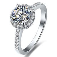 настоящий муассанит оптовых-Подлинная белое золото кольцо Moissanite ювелирные изделия 0.5 карат синтетические бриллианты кольцо Halo женщины обручальное Moissanite женщины белое золото кольцо