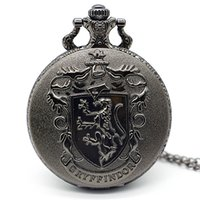 antike bronze halskettenentwürfe großhandel-Antike Quarz Taschenuhr Design Schwarzes Glasgehäuse mit Bronze Halskette mit Kette XH3018