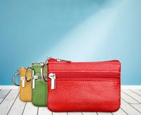 Wholesale coin case leather for sale - Group buy Women men coin bag purse solid colors wallet card case classic mini zipper leather handbag gift