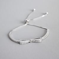 bilezikler için gümüş bilekler toptan satış-Yeni Klasik 100% 925 Ayar Gümüş Bilezik Kutusu Zincir Ayarlanabilir Topu Püskül Zirkon Kadınlar Öğrenciler Için Ilmek Bilezikler