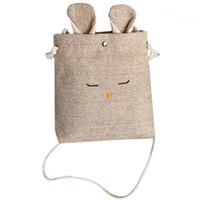 ingrosso mini sacchetti di lino-Sacchetti di cotone crossbody borse borsa piccola piccola di lino per bambini ragazze bambini coniglio borsa a tracolla borsa della moneta tote messenger modello