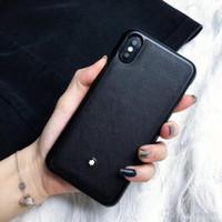 ingrosso custodia in pelle nera iphone 6s-Custodia in pelle nera di buona qualità in pelle di marca per iPhone 6 6s 7 8 Custodia in plastica posteriore XR X 8 8plus per la custodia di iphone x xr 7plus