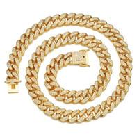 corrente de latão china venda por atacado-Moda Ice Out Material de Bronze CZ Pedras 12MM Colar Cubano dos homens Rock Street Hip Hop Jóias Cadeia de Ouro