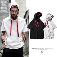 dünne weiße t-shirt männer großhandel-Summer Thin Hoodies Herren Sunny T-Shirt mit Kappentasche Schwarz / Weiß / Grau Herren Homme Oversized Kanye Style Top Tees