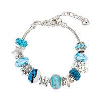 bracelets style pandora achat en gros de-Perles Bleues Cristal / Perles De Verre De Mode Charm Pandora Style Bracelets Bracelets Pour Femme Cadeau De Fête Des Mères De Mariage Bijoux Accessoires