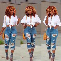 frauen hohe hosen großhandel-Dame zerrissene reizvolle dünne Jeans-Frauen hoch taillierte dünne passende Denim-Hosen-dünne Denim-gerade Radfahrer-dünne Loch-Jeans LJJA2519