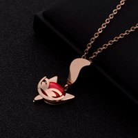 Wholesale fox pendant gold resale online - Mixed order valentines day gifts women s stainless steel necklace necklaces with pendants birthday gift cute fox ZX190506007A