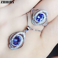 jóias de pedras preciosas venda por atacado-ZHHIRY real Natural Azul Tanzan Jóias Define 925 Sterling Silver Ring Colar Pingente For Women Gemstone Fine Jewelry