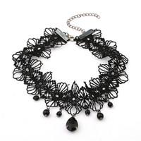 ingrosso colletto in tallone nero-Collana nera popolare della ragazza del collare del merletto del lolita del pizzo della ragazza popolare nera della perla per lei