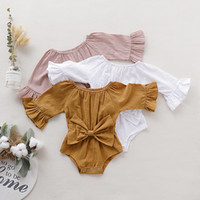 Wholesale yellow baby clothes unisex resale online - kids clothes girls boys Solid romper newborn infant Bow Bell sleeve Jumpsuits Spring autumn baby Climbing clothes C2180
