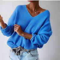 camisolas para escritório feminino venda por atacado-Outono Casual capuz Camisolas Mulheres oco fora solto V-neck Top Mangas longas Sólidos malha de algodão de escritório macio Camisolas Senhoras