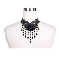 gothic schwarze spitze perlen choker großhandel-Viktorianische Gothic Black Lace Choker Halskette für Frauen mit Seide Rose Perlen Anhänger Steampunk Frauen Party Halskette Kette geschmückt