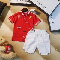 bebek için kırmızı takım toptan satış-2019 çocuklar giysi tasarımcısı erkek eşofman Kontrast takım kırmızı nakış kısa kollu + beyaz pantolon 2 adet suit erkek bebek kız Giysileri AB-4