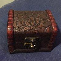 caja de madera de almacenamiento vintage al por mayor-Caja de joyería de la vendimia Organizador de joyería Estuche de almacenamiento Mini contenedor Cajas de belleza de madera decorativas