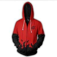 hoodie com zíper outerwear hoodies sweatshirts venda por atacado-Naruto 3D Dos Desenhos Animados Com Capuz Bolso Com Capuz Moletons Hoodies 3D Pullovers Homens Mulheres com zíper de Manga Longa Outerwear Moda Com Capuz