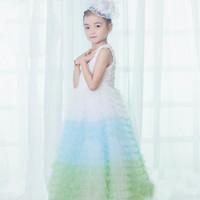 ayak bileği uzunluğu tutu toptan satış-Bebek Kız Tutu Elbise Kız Düğün Prenses Elbiseler Dantel Kat Yuvarlak Boyun Ayak Bileği Uzunlukta Pamuk Karışımları Balo 40