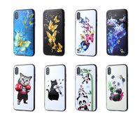 caja del teléfono mariposa negro al por mayor-Panda Cat Funda de TPU Suave Para Iphone XS MAX XR X 10 8 7 6 6 S Plus Flor Mariposa Moda de Lujo Con Estilo En Relieve Lindo Encantador Negro Cubierta del teléfono
