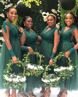 Wholesale tea length bridesmaid dresses for sale - Group buy 2019 Nigeria Dark Green Tulle Long Bridesmaid Dresses V Neck Long Sleeves Lace Ruched Tea Length Plus Size Maid Of Honor Gowns BM0618