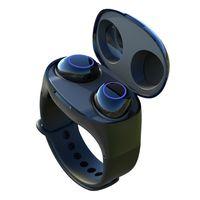 спортивные наручные часы наручные оптовых-HM50 Наручные TWS Беспроводные наушники Smart Sports Watch Wristband Bluetooth 5.0 Smartband Наушники Стерео Наушники-вкладыши Гарнитура