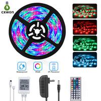 ingrosso leds smd 3528 ip65 12v-Striscia LED RGB IP20 IP65 5M 300 LED SMD 3528 5050 60 led / M + 44 tasti telecomando + alimentatore 12V Kit striscia LED