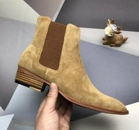 botines hombre cuero negro al por mayor-Moda elegante del diseñador de los hombres de negocios de cuero Negro cargadores del caballero del top del alto inferiores rojos de los zapatos ocasionales Botas Marca Flat Ankle Boots r5