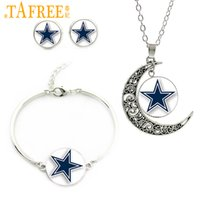 американская футбольная команда синяя оптовых-TAFREE Blue star ювелирные наборы известный американский футбол команды ожерелье серьги браслет новый спортивный подарок N02