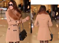 jaqueta de mulher xxl venda por atacado-Nova moda das mulheres double-breasted casaco de lã longo inverno casaco quente gola de pele casaco jaqueta XL M, L, XL, XXL, XXXL 35