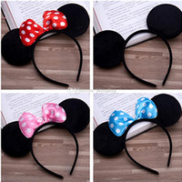 Wholesale hair blending stick for sale - Group buy 6 Colors Girls hair accessories Mouse ears headband Children hair band Baby kids cute Halloween Christmas cosplay headdress hoop A038