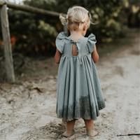 ingrosso pantaloni di lino per i bambini-2019 Toddler Children Clothing Summer Dress Neonate Cotoon Lino Abiti Bambini manica corta Ruffle Abiti lunghi Bella ragazza J190709