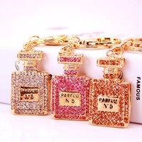 Wholesale fashion keychains for sale - Group buy Crystal perfume bottle keychain Luxury Designer Jewelry womens key chain Ladies keyring key ring fashion women bag car accessories