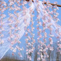 ingrosso vite di ciliegio-200 centimetri artificiali fiori di ciliegio fiore decorazione di nozze fai da te rattan ghirlanda fiori di simulazione vine festa ghirlanda di casa