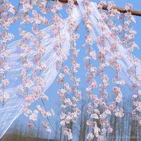 blumenschmuck kirsche großhandel-200 cm künstliche kirschblüten blume hochzeit dekoration diy rattan girlande simulation blumen vine party home kranz