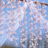 yapay kiraz çiçeği asması toptan satış-200 cm Yapay Kiraz Çiçekleri Çiçek Düğün Dekorasyon DIY Rattan Çelenk Simülasyon çiçekler vine Parti Ev çelenk