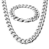 pulsera de plata para hombre al por mayor-Regalo de moda 13/15 mm de ancho para hombre collar de cadena Curb enlace cubano Silver Tone acero inoxidable collar pulsera conjunto de joyas