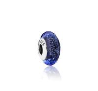 ingrosso collana di vetro blu di murano del tallone-925 Sterling Silver Core blu sfaccettato perline di vetro di Murano Charms Fit Pandora Bracciali Collana fai da te accessori femminili gioielli