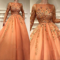 Wholesale new navy dresses resale online - New Arrival Orange Sheer Long Sleeves Prom Dresses With Lace Appliques A Line Tulle Formal Evening Gowns Celebrity Party Wear
