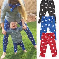 kızlar için renkli pantolon toptan satış-Yenidoğan Çocuk Erkek Bebek Kız Yıldız Baskı Pantolon Üç Renk Pantolon Bebe Pijama Pantolon Rahat Pantolon